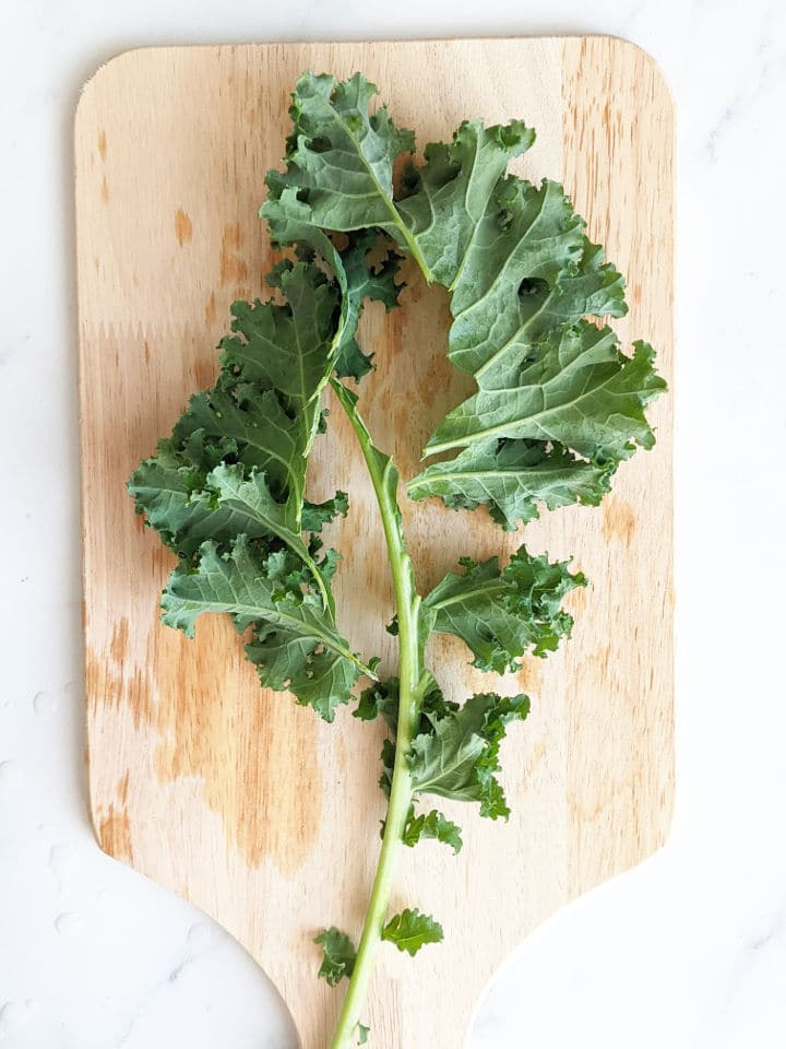 kale leaves removed from the stem