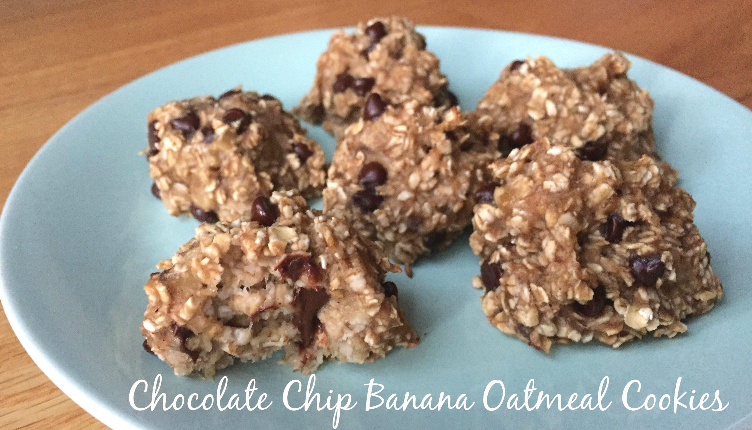 Vegan chocolate chip banana oatmeal cookies