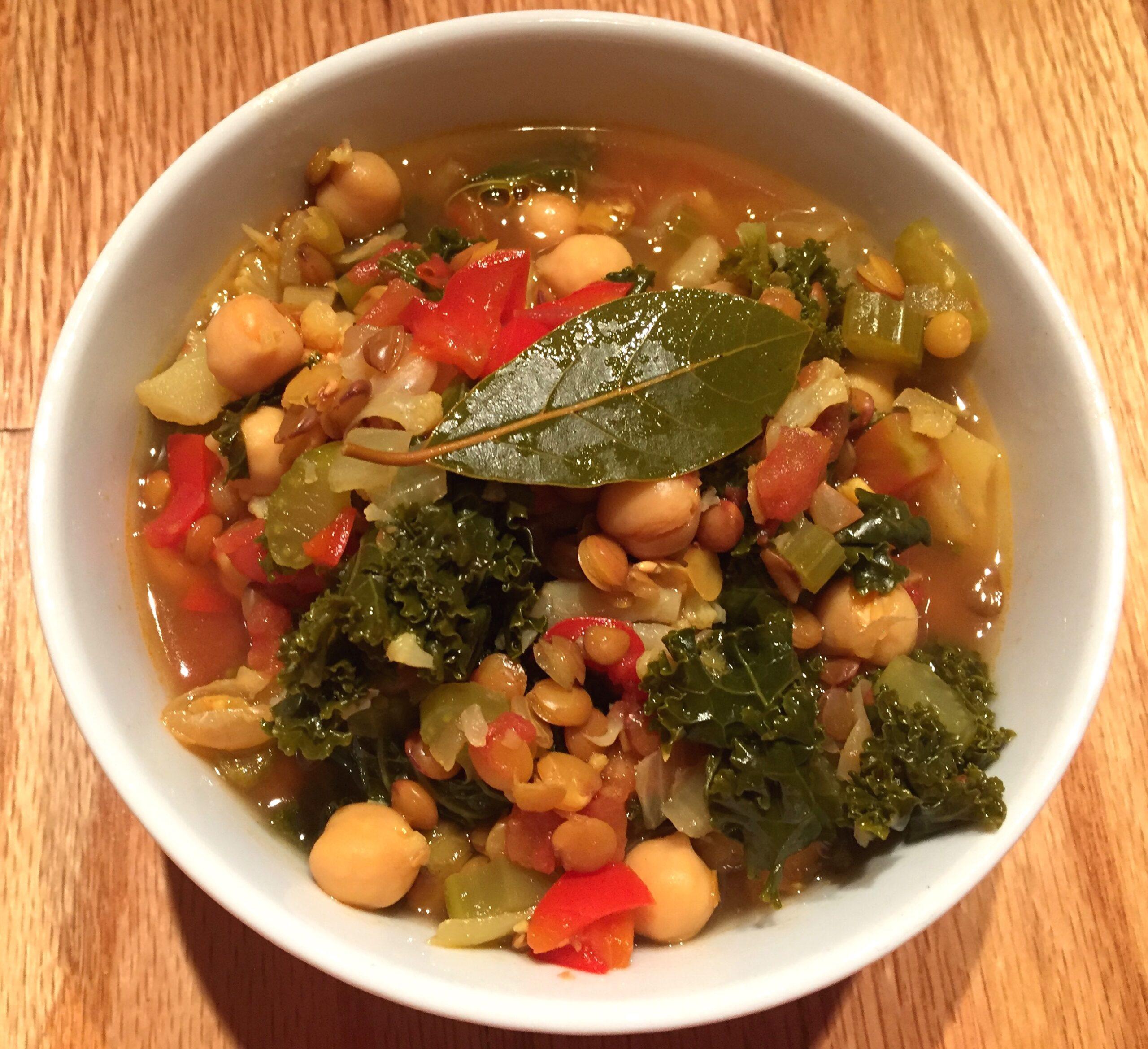 a bowl of vegan lentil soup