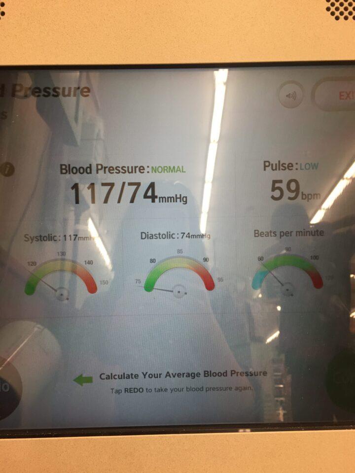 Blood pressure test result showing 117/74 mmHg