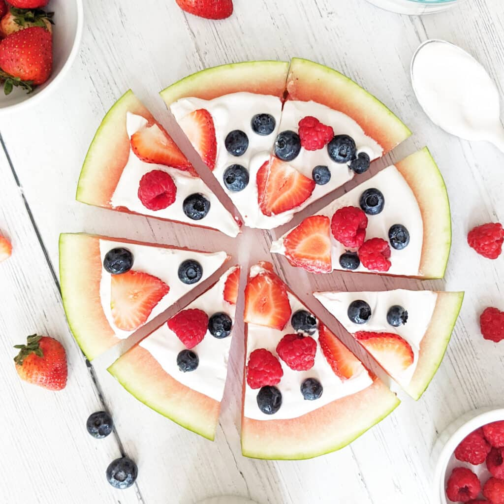watermelon dessert pizza with coconut whipped cream