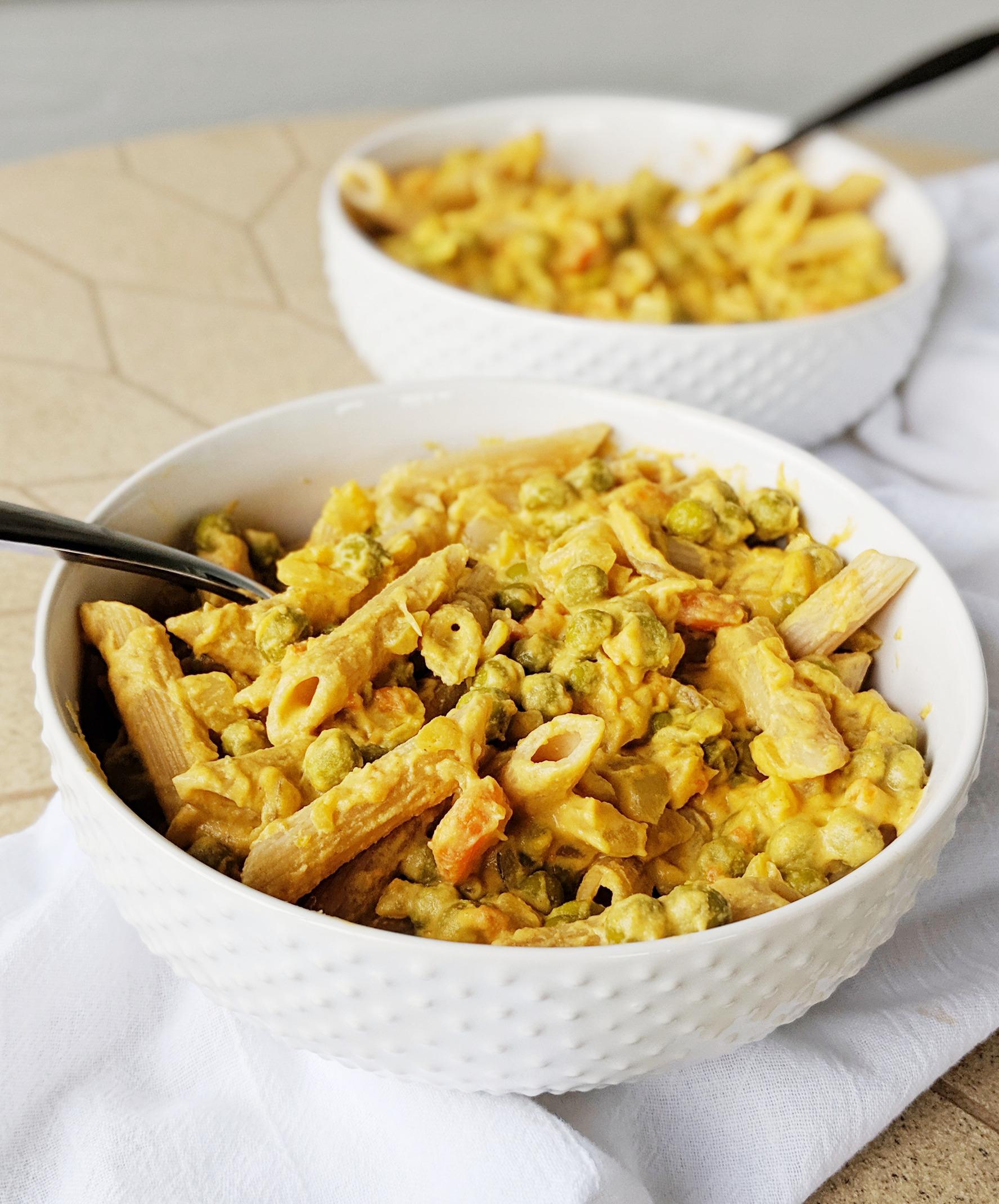 vegan cashew cheese over pasta