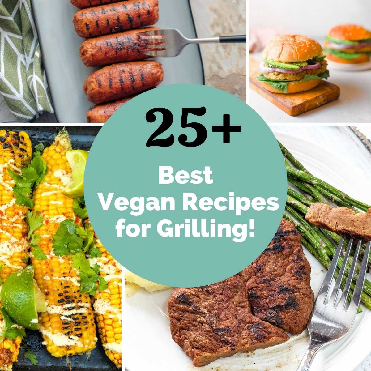 Collage of vegan recipes for grilling.
