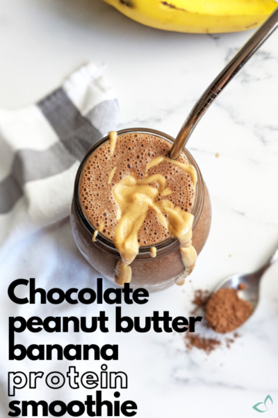 You don't need expensive protein powders to make a filling, protein-packed smoothie. Check out the post for alternative plant-based proteins plus several flavor variations. #proteinsmoothie #vegansmoothie #chocolatepeanutbutter #plantbasedsmoothie