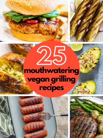 No need to miss out on grilling season as a vegan! Here are 25 of the most mouthwatering vegan BBQ and grilling recipes to cook up this summer. #vegangrilling #veganbbq #veganburger #veganchicken #vegansausagerecipe #tofusteak #beanburgers