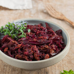 Red Cabbage Coleslaw in a bowl