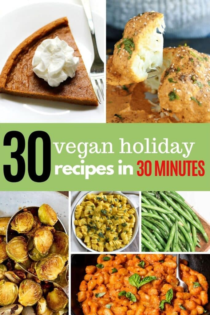 If you need some quick recipes to make this holiday season look no further! These vegan holiday recipes take 30 minutes or less so that you can enjoy the day with your friends and family and not be stuck in the kitchen the whole day. Quick vegan holiday recipes | easy vegan thanksgiving recipes | vegan christmas recipes