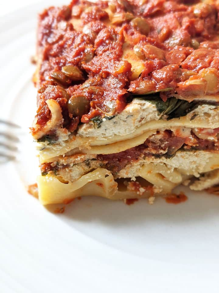 up close shot of the layers in vegan lasagna