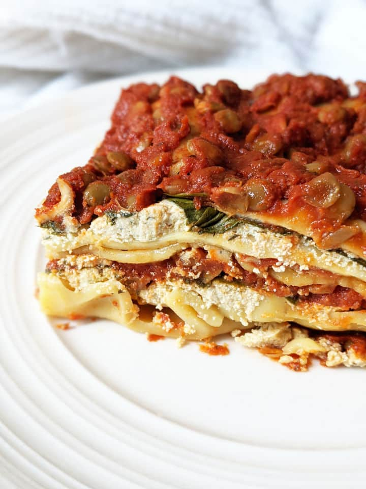 A serving of vegan lasagna on a plate