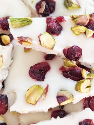yogurt bark pieces close up
