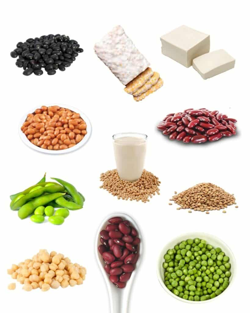 collage of a variety of beans and legumes