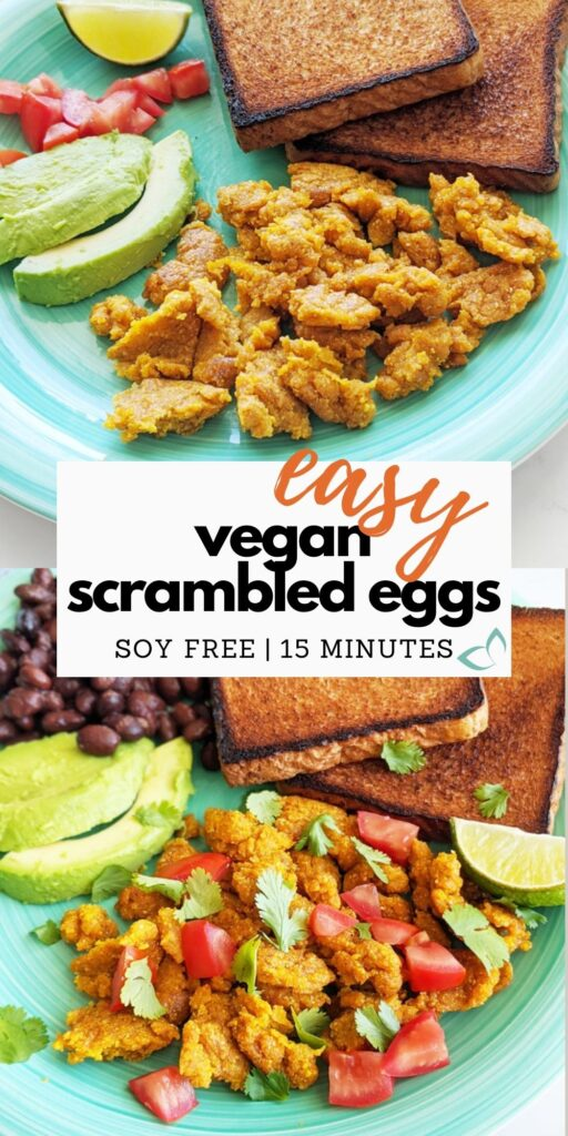 Vegan scrambled eggs made from chickpea flour. They're easy to make, gluten-free, and high in protein and fiber. Just 15 minutes to make and super filling—the best vegan breakfast option! Great for meal prep or as a quick breakfast when you're low on time. Vegan scrambled eggs | high protein chickpea scramble | gluten free and soy free recipe | vegan protein breakfast | chickpea flour scramble #veganeggs #veganprotein