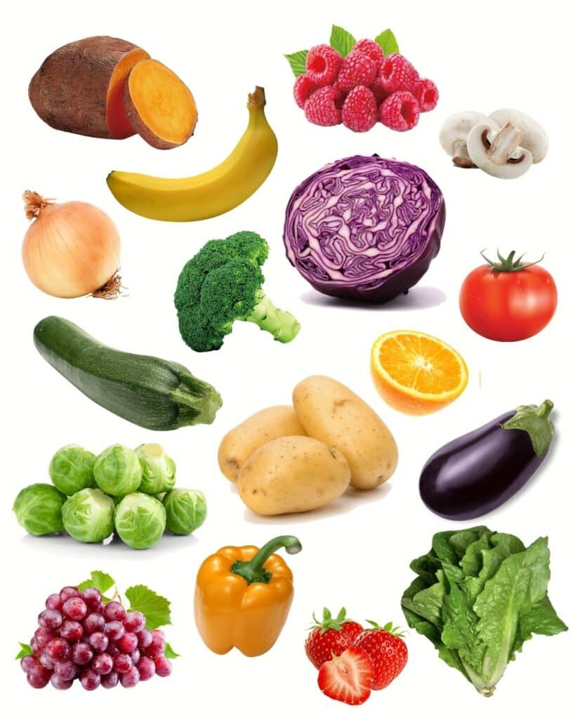 collage of a variety of fruits and vegetables