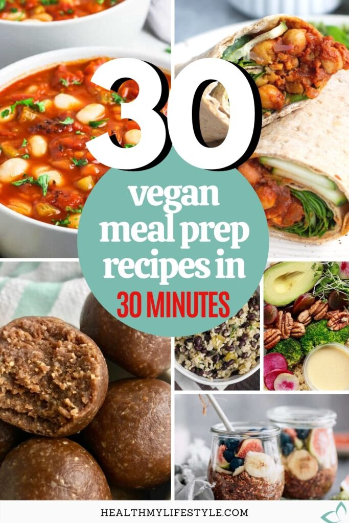 Meal prepping can make all the difference in sticking to a healthy plant-based diet, but it can be time consuming. To make it as easy as possible I've rounded up the best vegan meal prep recipes that take only 30 minutes or less to make! Healthy recipes that don't require a lot of time or hard to find ingredients. Easy vegan meal prep | healthy plant based meal prep recipes | vegan meal prep ideas | easy vegan meal ideas #veganmealprep