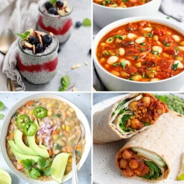 A collage of four vegan meal prepped recipes