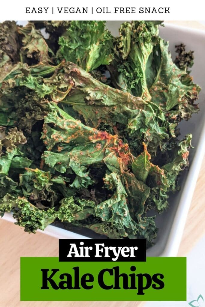 "These kale chips are an easy and flavorful snack made in a matter of minutes with an air fryer. Perfect when you want something crunchy yet healthy! No need for oil, these ""chips"" crisp up nicely in the air fryer for an oil free, low calorie snack. how to make kale chips in the air fryer 