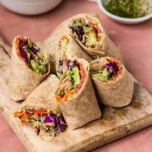 Wraps on top of a cutting board