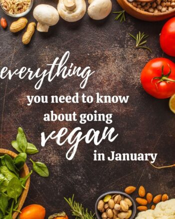 """Table top with a variety of fruits, vegetables, grains, nuts and seeds strewn about with text in the center that says """" everything you need to know about going vegan in january"""""""