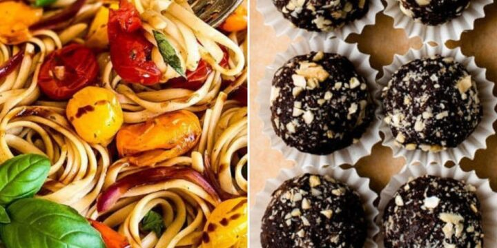 healthy pasta on one side of the image and chocolate truffles on the other