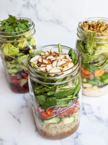 three mason jar salads