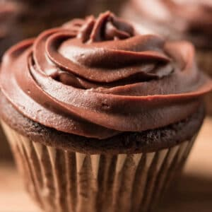 a closeup of a cupcake topped with chocolate frosting