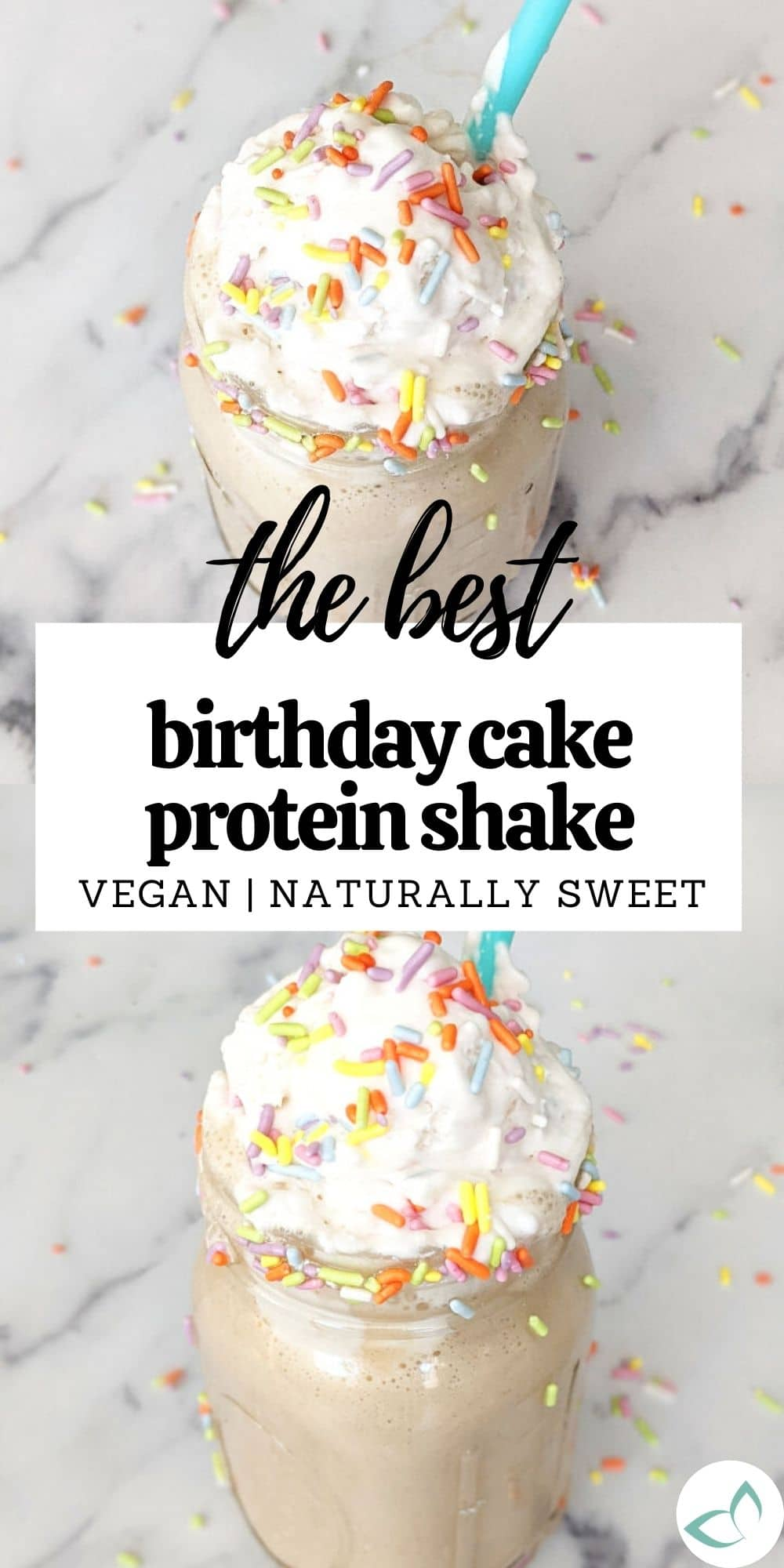Want a delicious birthday cake smoothie that's also healthy? This shake is your answer! It's completely plant-based, boasts 14 grams of protein, is vegan and has no added sugar (except for sprinkles). Tastes like a delicious birthday cake in a cup!
