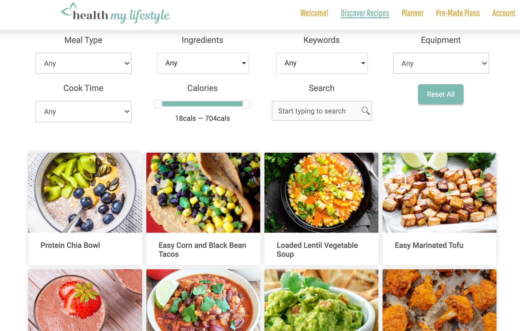 recipe database with search function for meal type, ingredients, keywords, equipment, cook time, calories per serving