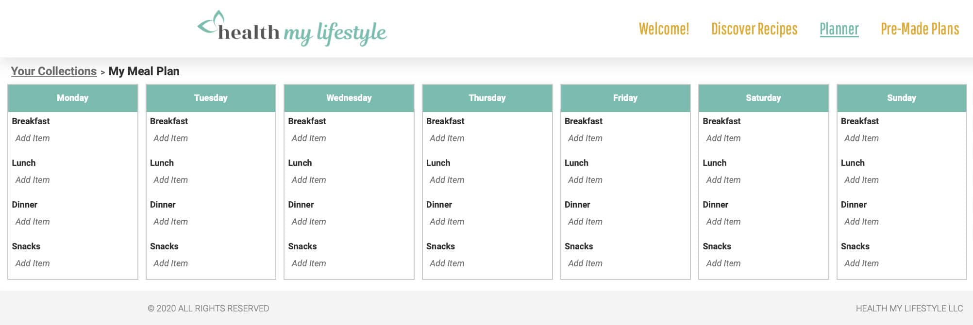 example meal plan schedule showing Monday through Sunday with options for breakfast, lunch, dinner, and snacks