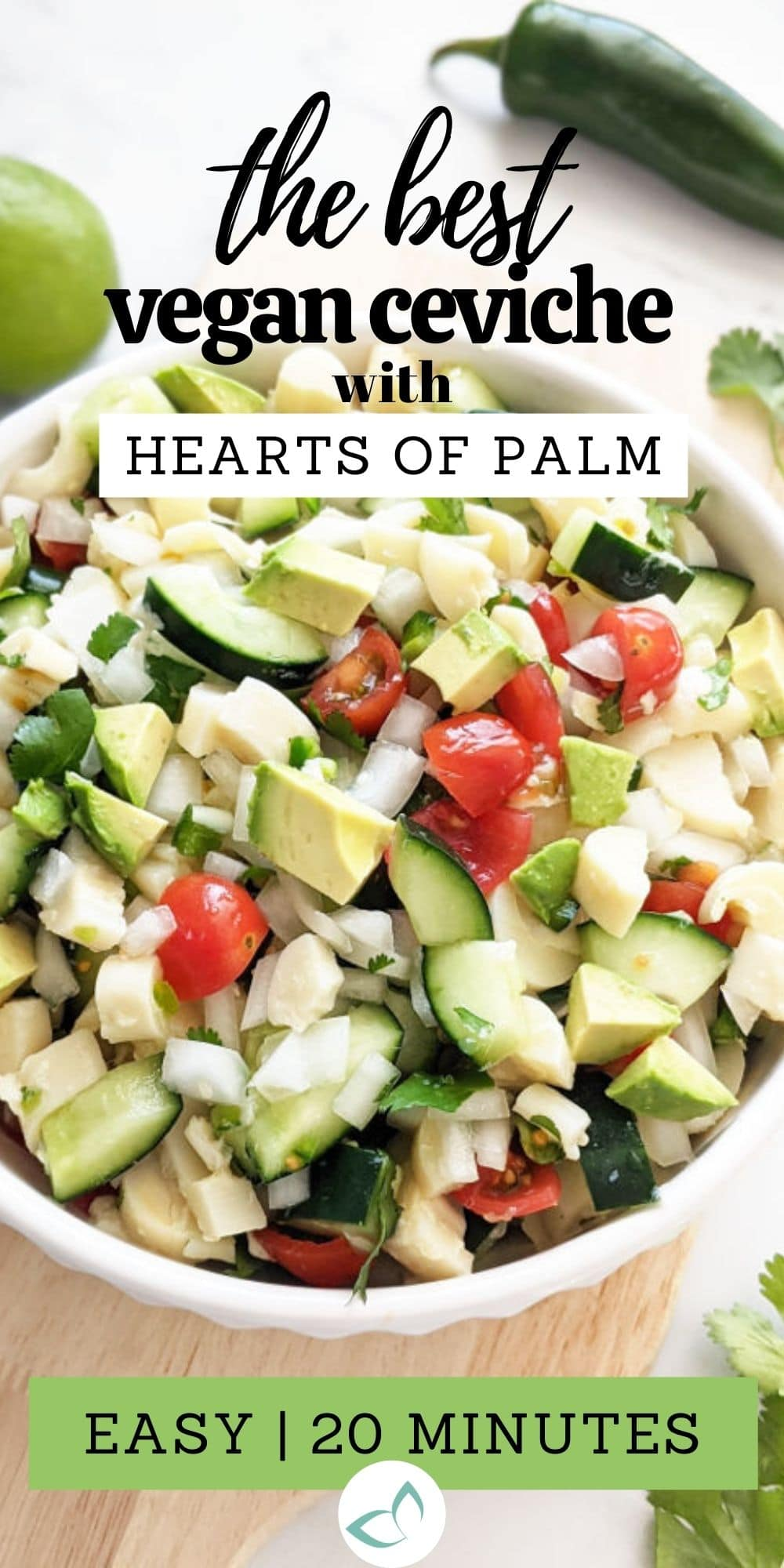 This healthy palmito ceviche is made using hearts of palm—the perfect seafood substitute! Tossed with fresh lime juice, this dish is refreshing and zesty! Perfect as an appetizer or main dish served with tortilla chips, tostadas or rice.  Palmito Salad | Vegan Ceviche Recipe | Hearts of Palm Salad | Plant Based Ceviche