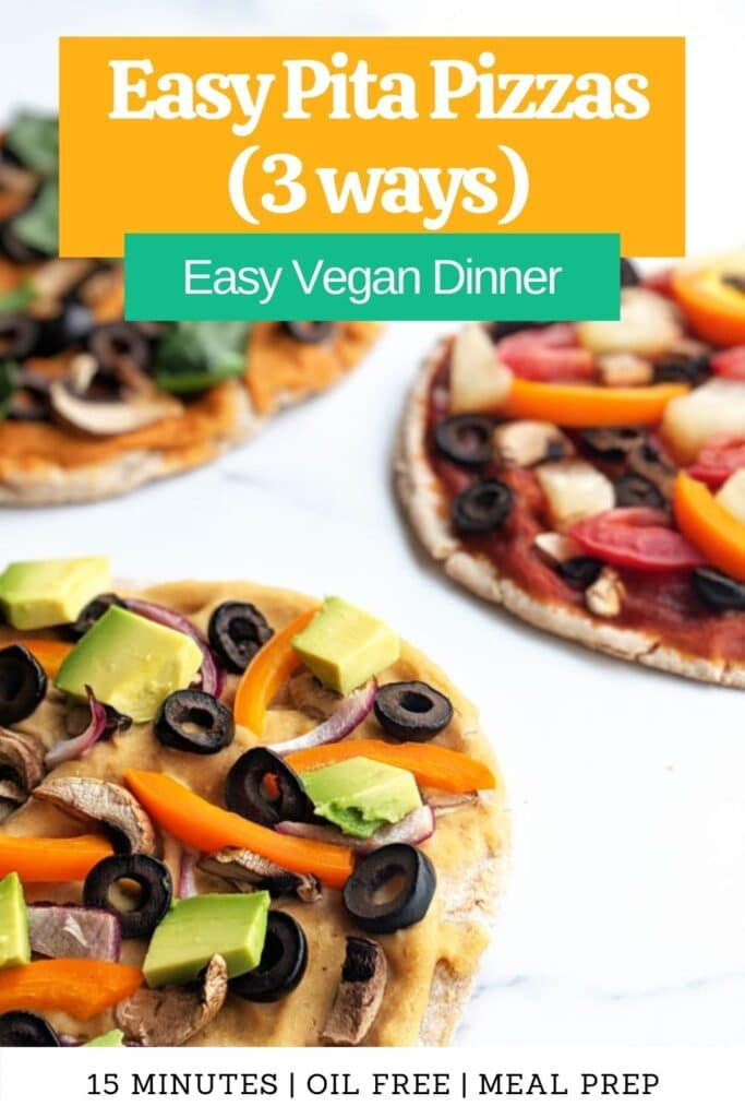 This easy dinner will quickly become a favorite in your weekly rotation. Try these three different varieties or customize your own with the veggies you have on hand and make a healthy and delicious dinner in no time! Just 15 minutes needed, perfect for meal prep or a lazy weeknight dinner. how to make pita pizzas | healthy pita pizzas | vegan meal prep | vegetarian pita pizzas