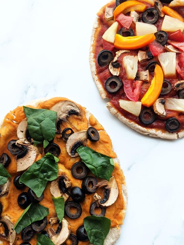 two pita pizzas