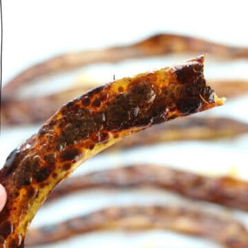 upclose shot of banana peel bacon