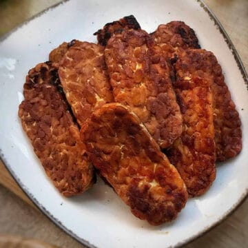 tempeh bacon strips on a plate