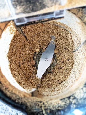 pickling spice in a coffee grinder after being ground