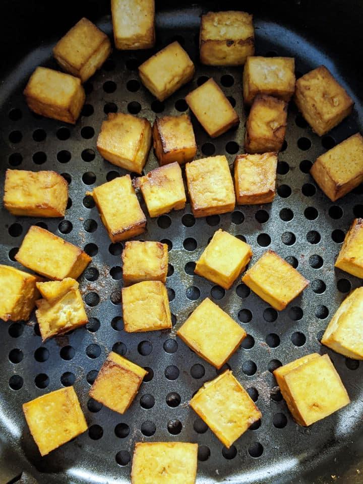 Crispy roasted tofu in an air fryer