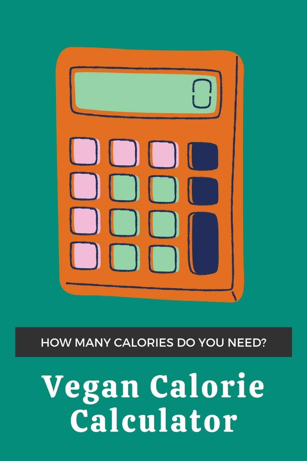 """Calculator doodle with text on image that says """"how many calories do you need? Vegan Calorie Calculator"""""""