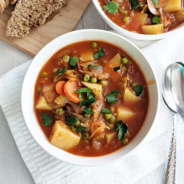 A bowl of vegetable stew topped with parsley