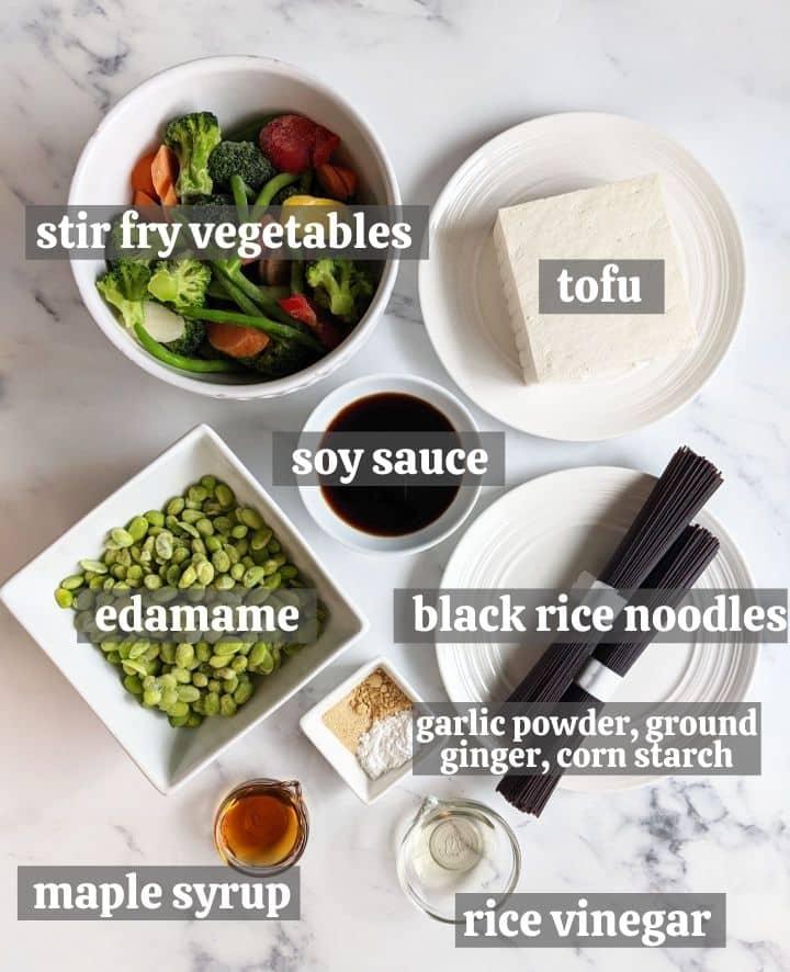 Ingredients for the tofu stir fry
