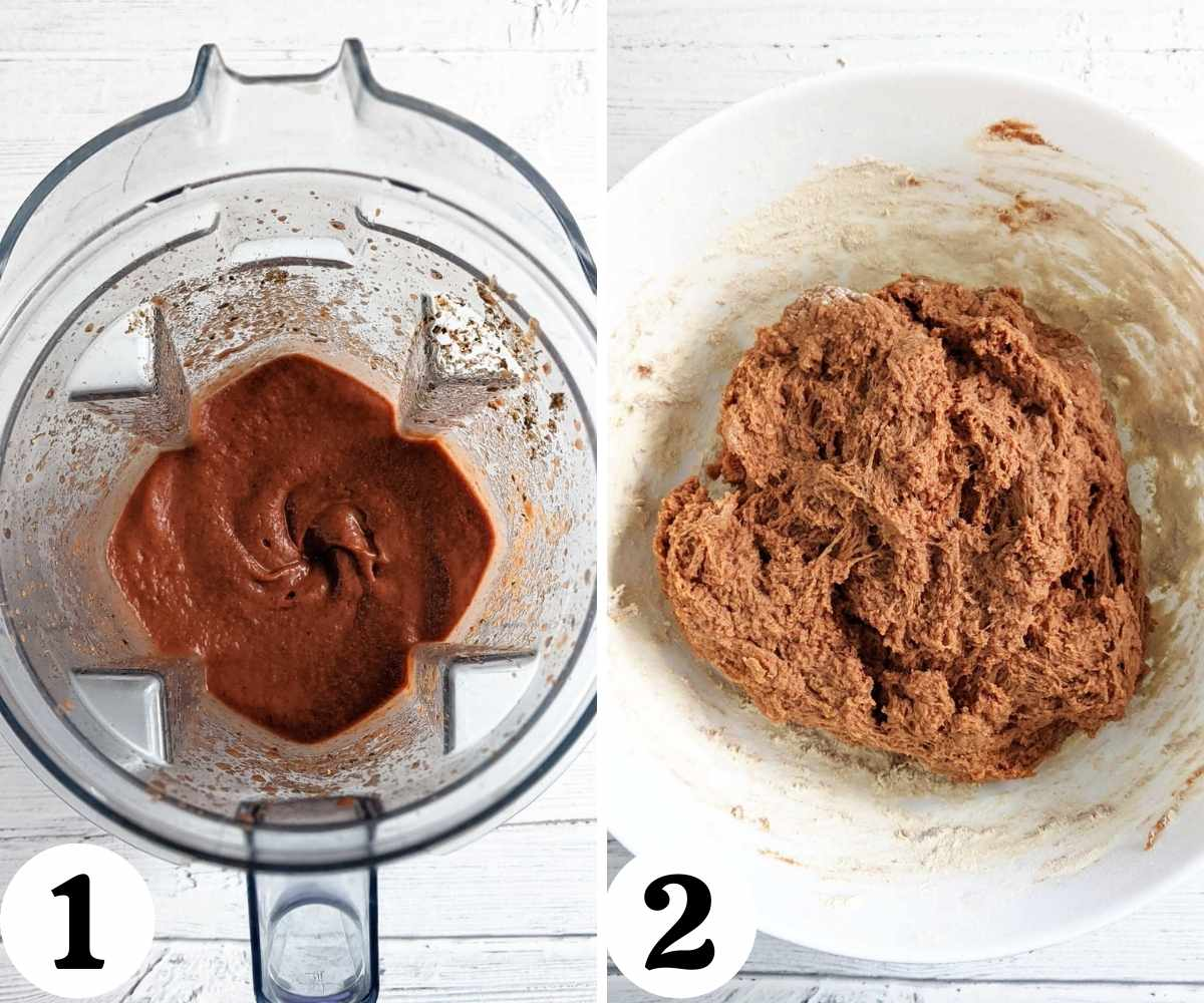 Collage showing steps to make vegan steak dough.