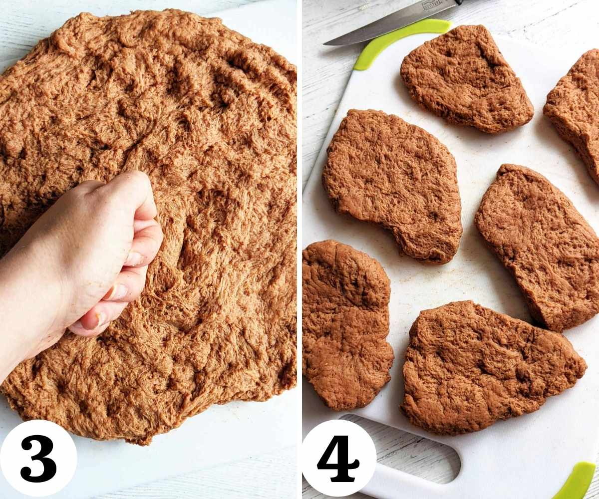 Collage showing steps to forming the vegan steaks.