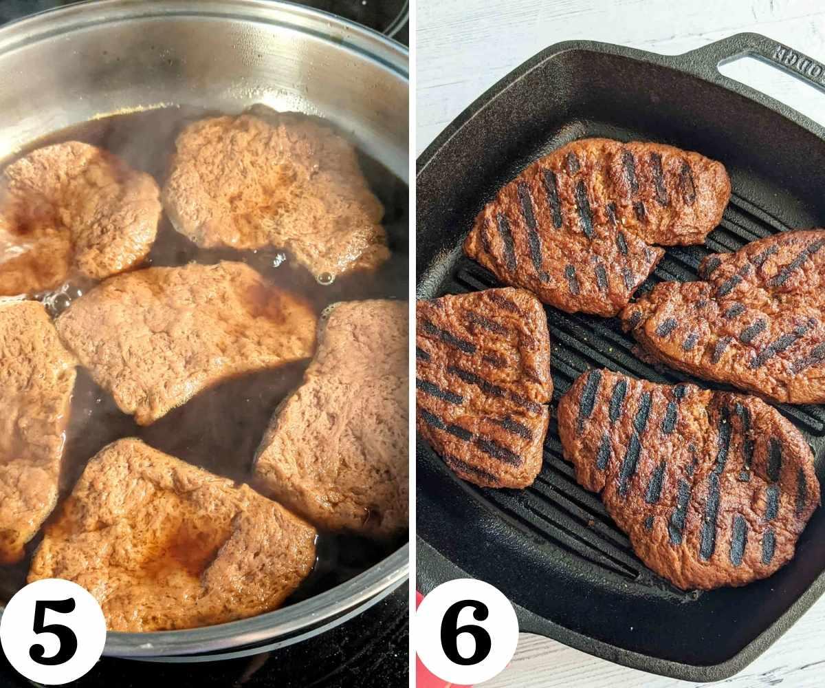 Collage showing steps to cooking vegan steak.