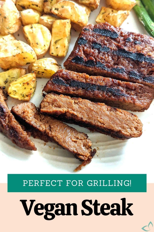 Pinterest image for vegan steaks.
