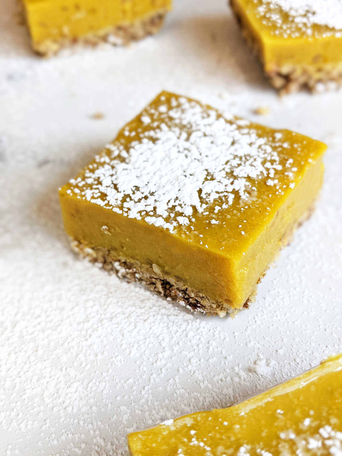 Cut lemon squares topped with powdered sugar