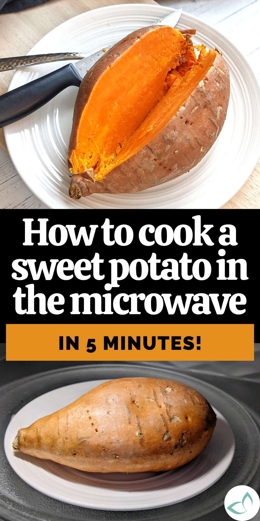 How to cook a sweet potato in the microwave pin image.