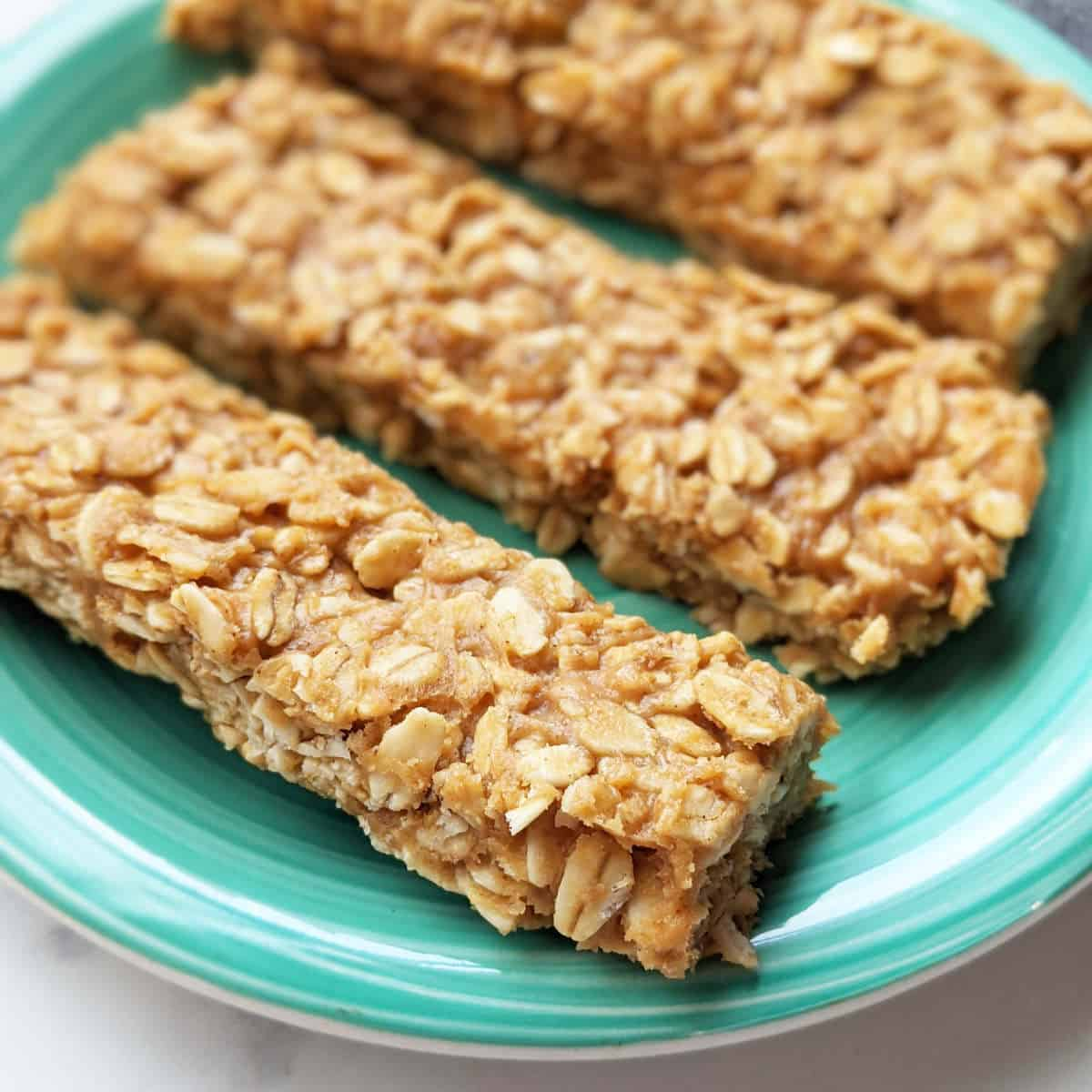 Granola bars on a plate.